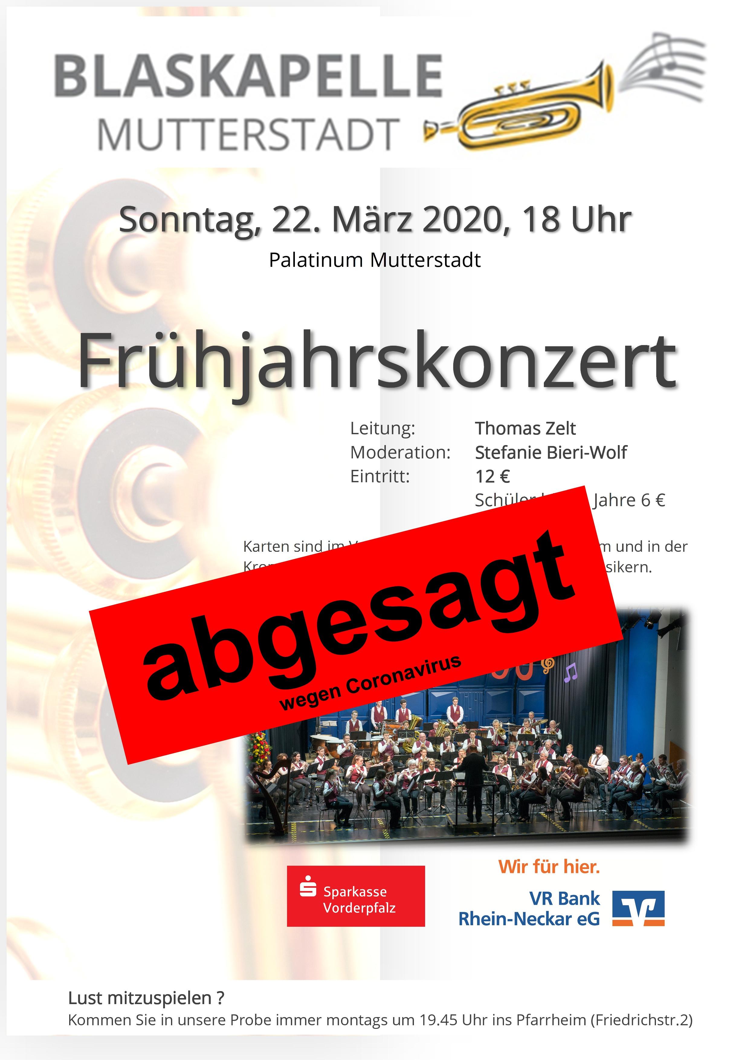 Plakat Konzert 2020 mit Absage